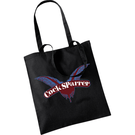 Logo (claret on black) tote bag