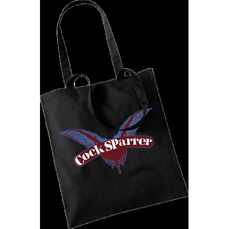 Logo (claret on black) tote bag
