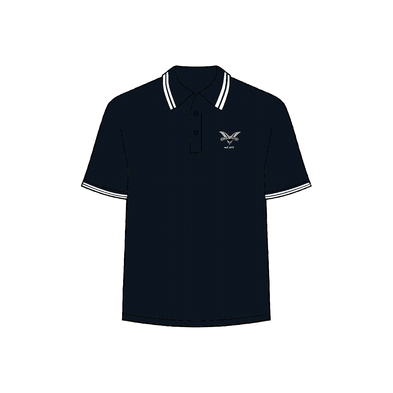White 1972 navy polo shirt