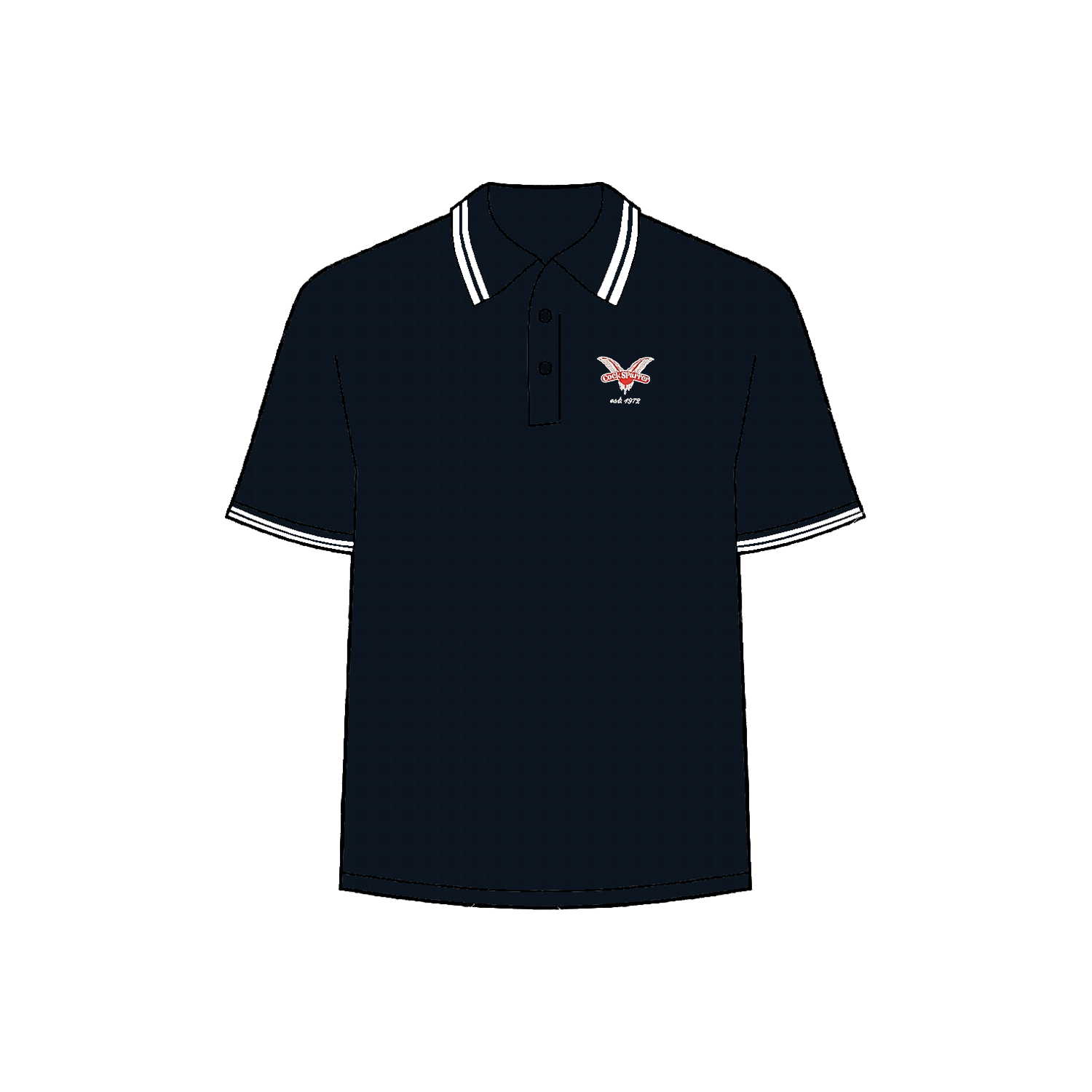 Red 1972 navy polo shirt