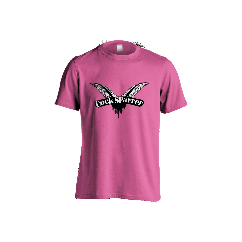 Logo (black on heliconia) womens t-shirt