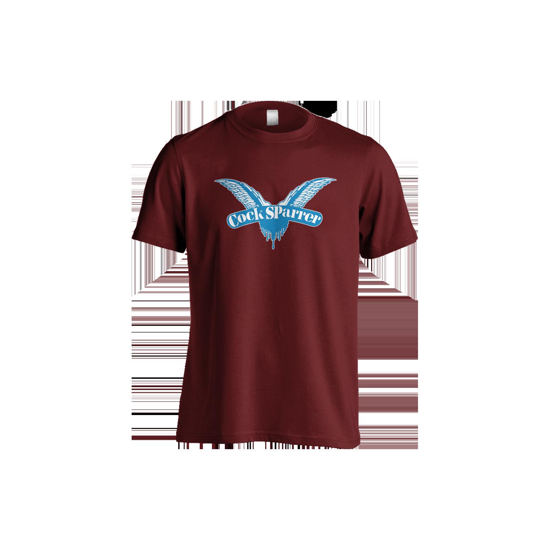 Logo (blue on claret) t-shirt