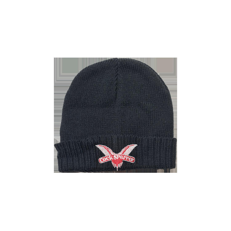 Logo (red on black) cuffed beanie hat